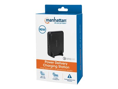 Manhattan Charging Station, 2x USB-C and 2x USB-A Ports, USB-C Outputs: 1x 60W and 1x 30W, USB-A Outputs: 2x 18W (Qualcomm Quick Charge), Stand & 3M tape (under desk mounting) included, Cable 1m, Black, Box