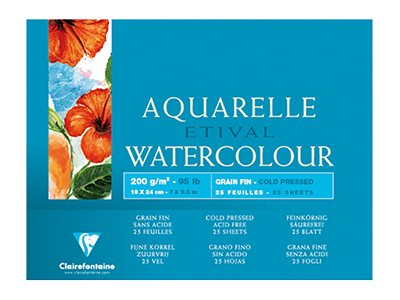 Clairefontaine ETIVAL Aquarelle Watercolour - Bloc à dessins - 180 x 240 mm - 25 feuilles