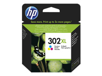 HP 302XL - High Yield - dye-based tricolour - original - ink cartridge - for Deskjet 11XX, 21XX, 36XX; Envy 45XX; Officejet 38XX, 46XX