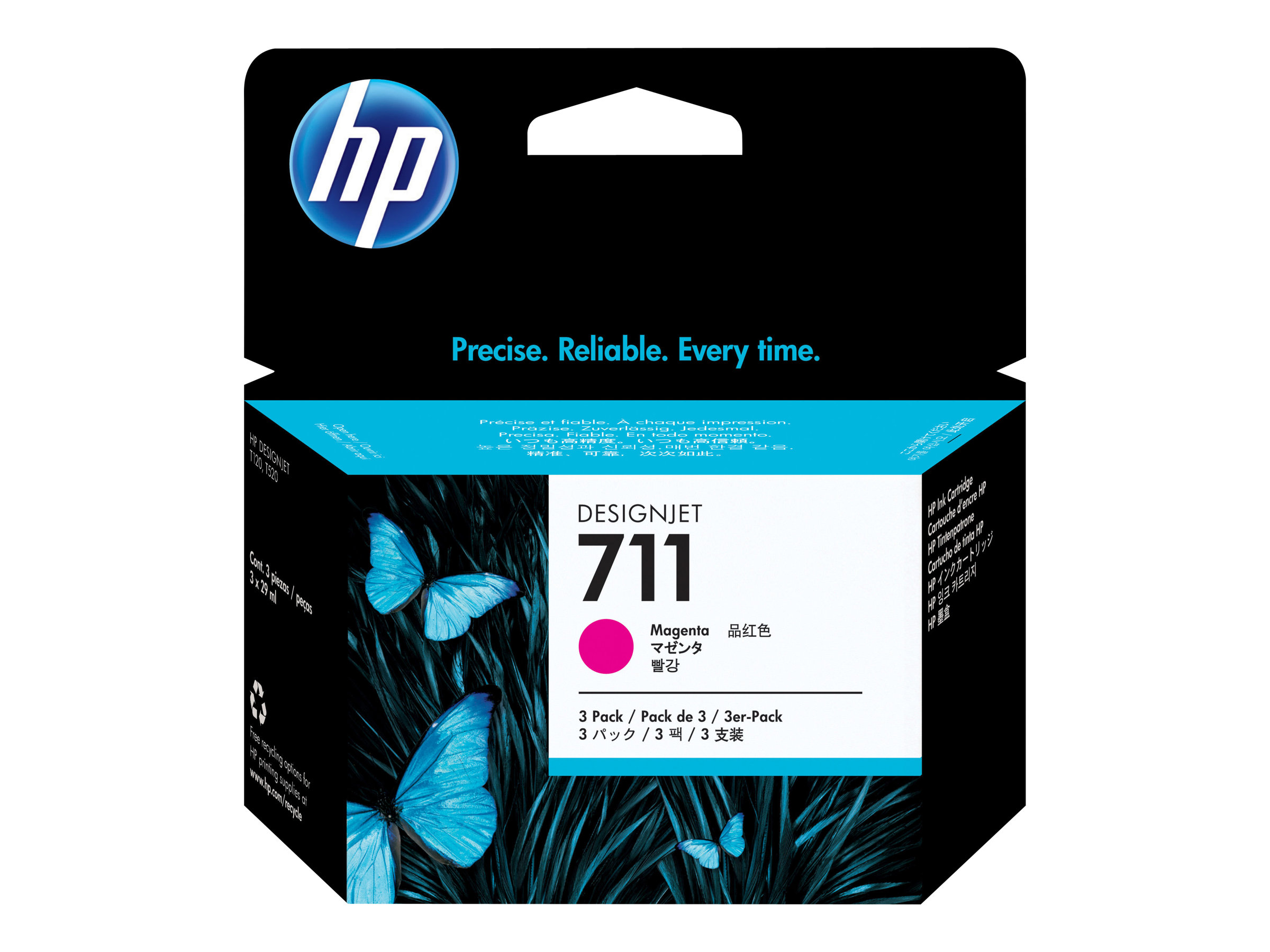 HP 711 - 3-pack - dye-based magenta - original - DesignJet - ink cartridge