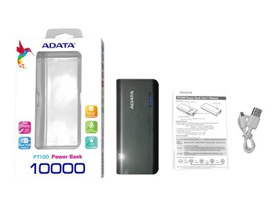 ADATA PT100 Power bank 10000 mAh 2.1 A 2 output connectors (USB) black