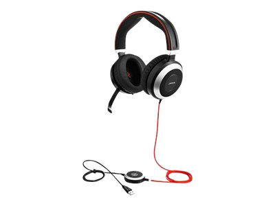 Jabra Evolve 80 MS stereo Kabling Sort Headset