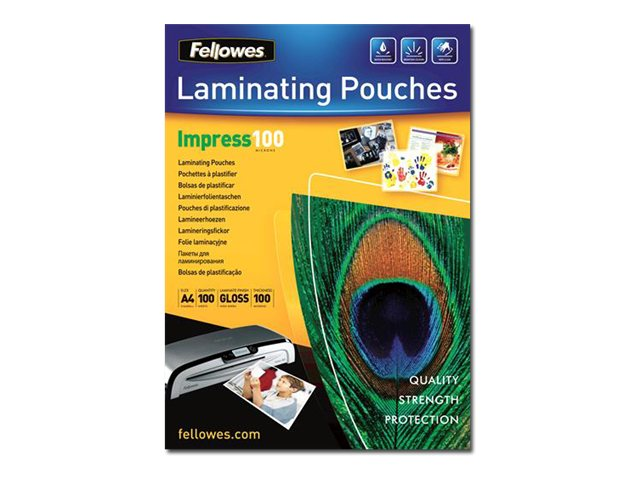 Image of Fellowes Laminating Pouches - 100-pack - 216 x 303 mm - lamination pouches