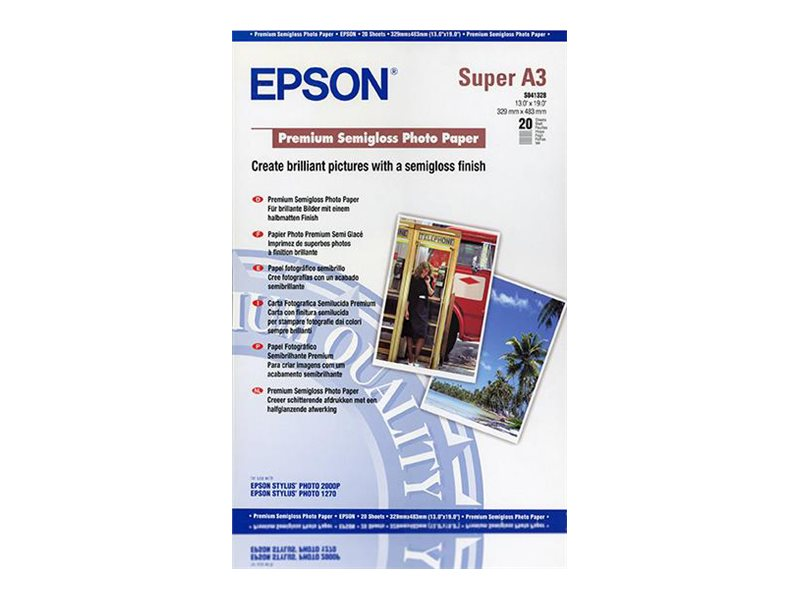 Epson Premium Semigloss Photo Paper - Halbglänzend - A3 plus (329 x 423 mm) 20 Blatt Fotopapier - für SureColor P5000, P800, SC-P10000, P20000, P5000; WorkForce Pro WF-R8590, R8590 D3TWFC