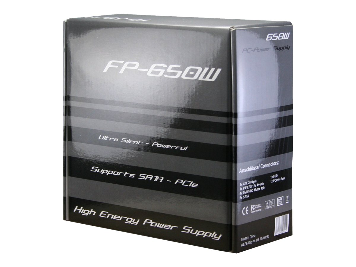 Inter-Tech FP-650W - Stromversorgung (intern) - ATX12V / EPS12V - 240 V - 650 Watt - aktive PFC