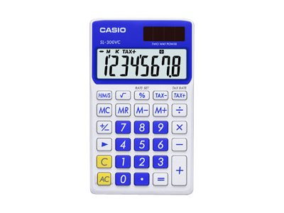 Casio SL-300VC Pocket calculator 8 digits solar panel, battery aqua blue