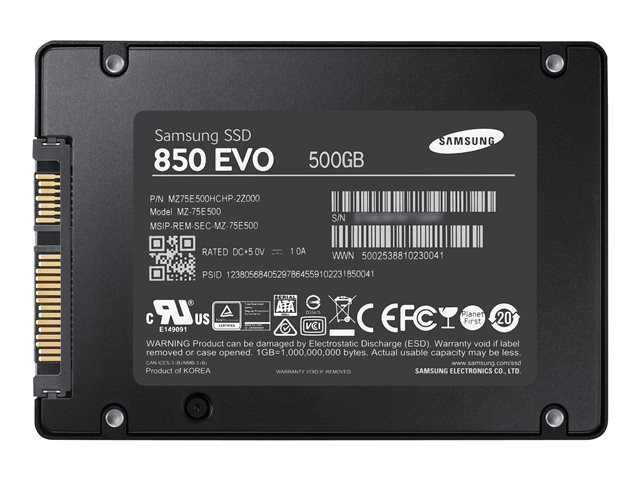 samsung 850 evo mz 75e500 disque ssd chiffre 500 go interne 2 5 sata 6gb s. Black Bedroom Furniture Sets. Home Design Ideas