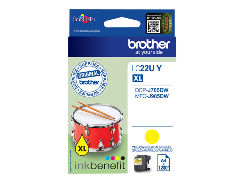 Brother LC22UY - XL - Gelb - Original - Tintenpatrone - für Brother DCP-J785DW, MFC-J985DW; INKvestment Work Smart MFC-J985DW, MFC-J985DW XL