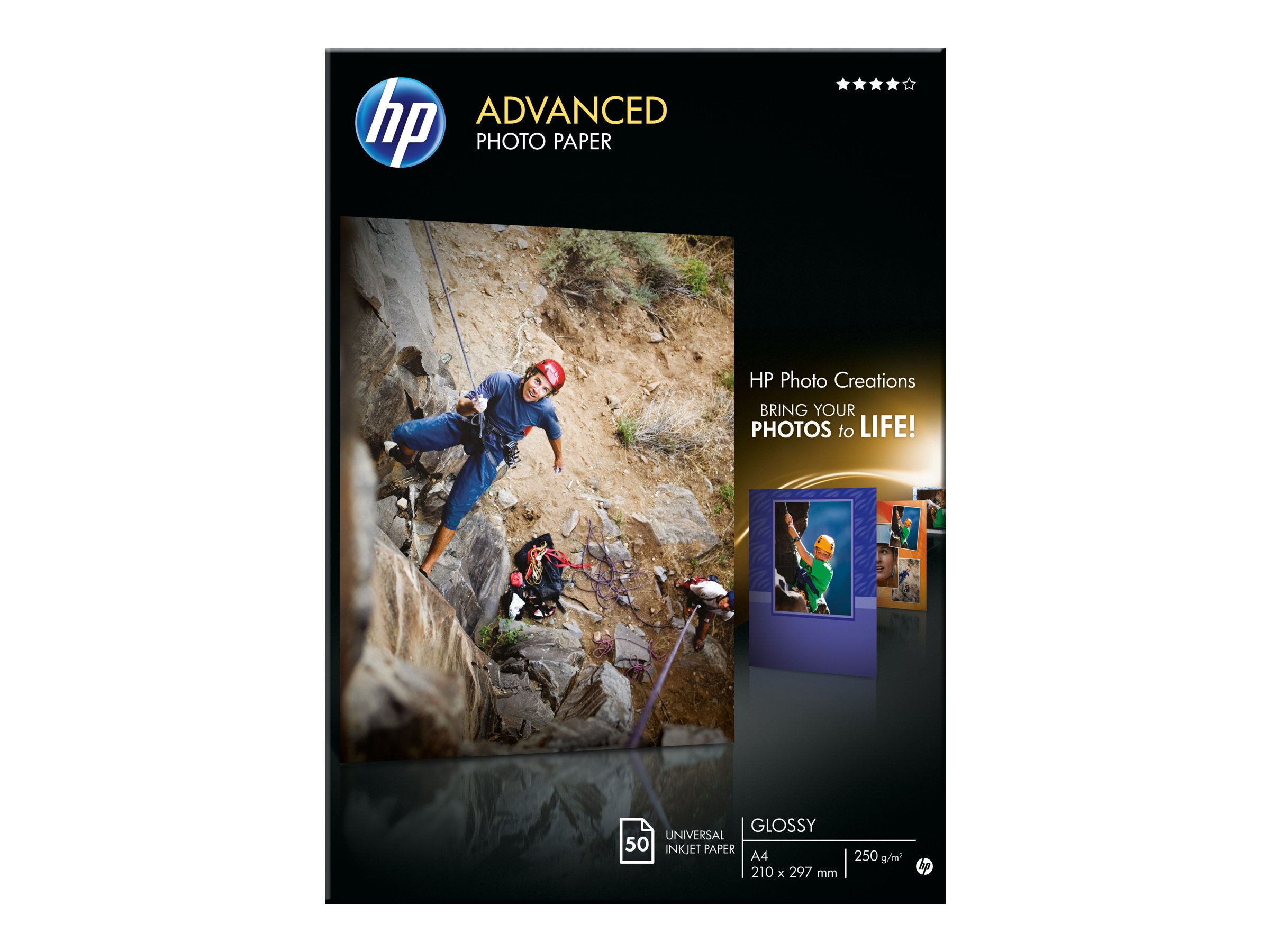 HP Advanced Glossy Photo Paper - Glänzend - A4 (210 x 297 mm) 50 Blatt Fotopapier - für Deskjet 2050 J510; Officejet 6000 E609, 76XX; PageWide MFP 377; PageWide Pro 452