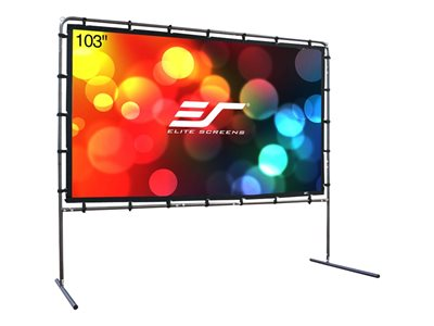 Elite Screens Yard Master Series OMS103HR Projection screen with legs rear