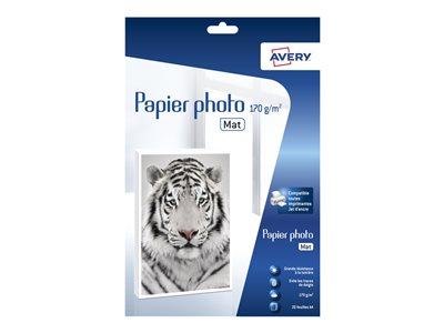 Papier photo Avery - 20 Feuilles de Papier Photo Premium 170 g/m² A4 - Impression Jet d'encre - Mat