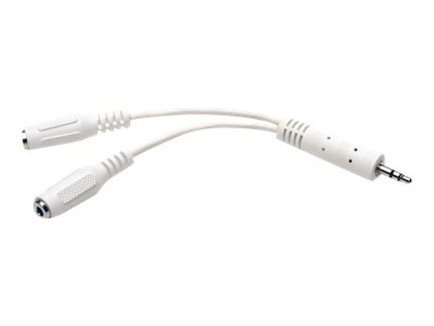Tripp Lite 6in Mini Stereo Cable Adapter Y Splitter 3.5mm M to 2xF White 6