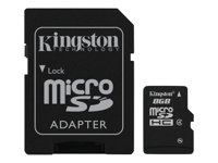 Kingston - Carte mémoire flash (adaptateur microSDHC - SD inclus(e)) - 8 Go - Class 4 - microSDHC