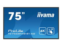 "Iiyama ProLite TE7568MIS-B1AG - Classe 75"" (74.5"" visualisable) écran DEL - communication interactive - avec écran tactile - 4K UHD (2160p) 3840 x 2160 - LED à éclairage direct - noir"