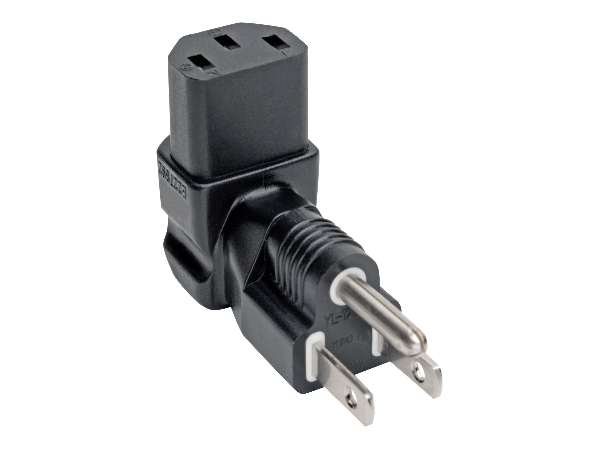 Tripp Lite Down-Angled NEMA 5-15P to C13 Power Cord Adapter - 10A, 125V, Black - power connector adapter