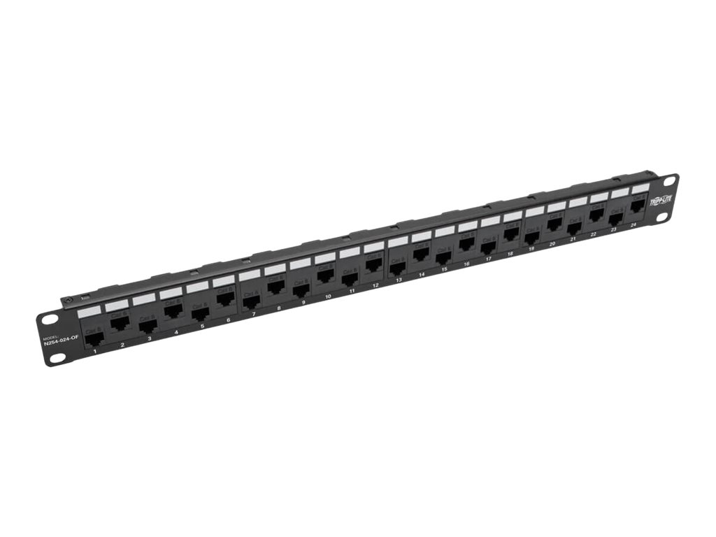 Tripp Lite 24-Port 1U Rack-Mount Cat5e/6 Offset Feed-Through Patch Panel with Cable Management Bar, RJ45 Ethernet, TAA …