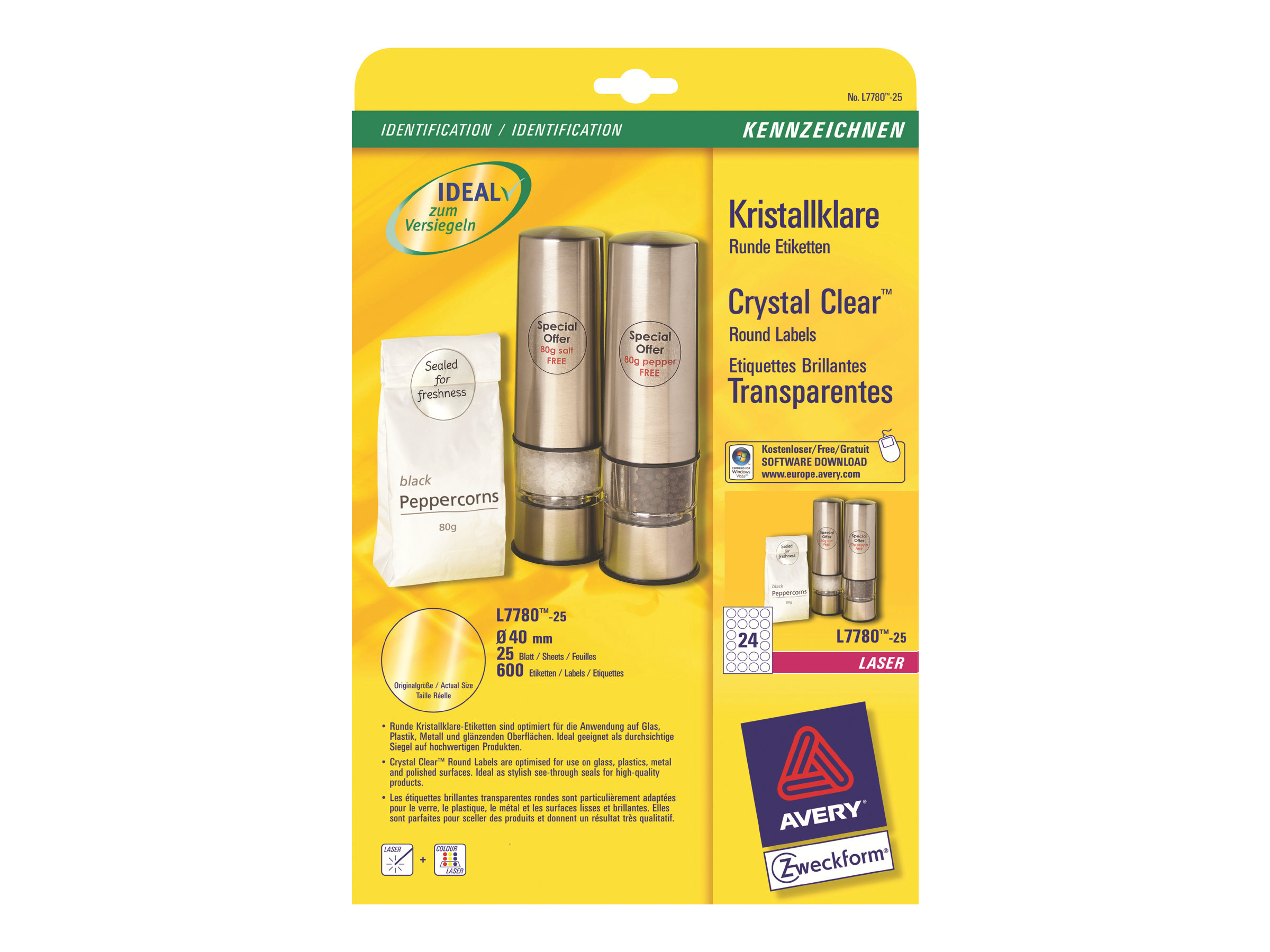 Avery - Etiketten - Polyester - glossy - permanent adhesive - Crystal Clear