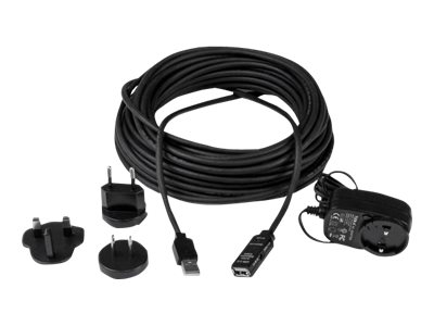 StarTech.com 10m USB 2.0 Active Extension Cable M/F - 10 meter USB 2.0 Repeater / Extender Cable USB A (M) to USB A (F) 10 m Black - 3 ft (USB2AAEXT10M) - USB extension cable - USB (F) to USB (M) - USB 2.0 - 10 m - active - black - for P/N: LTUB1MBK, SVA5H2NEUA, UUSBOTG