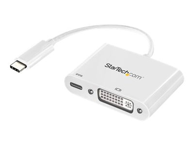 StarTech.com USB C to DVI Adapter - with Power Delivery - White - USB-C Adapter - DVI Adapter - UBC-C Dongle - USB Type…