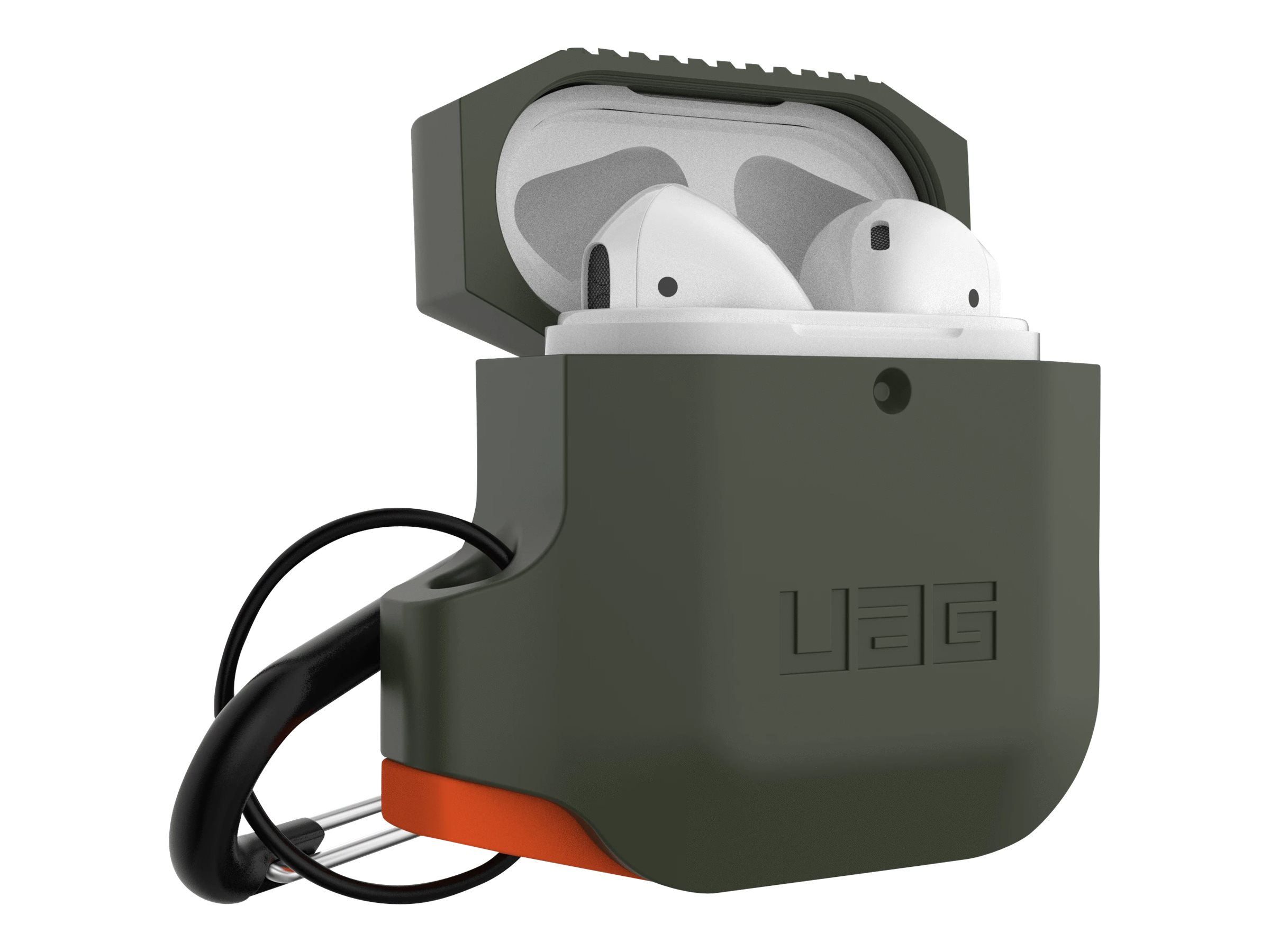 UAG Rugged Case for AirPods (1st & 2nd Gen) - Silicone Olive Drab/Orange - case for earphones