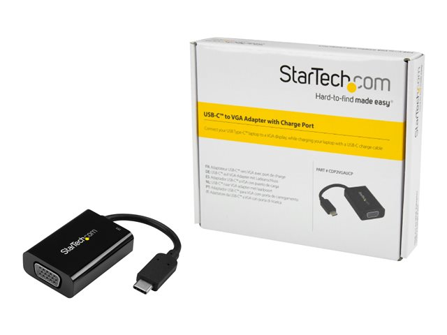 StarTech.com USB C to VGA Adapter with 60W Power Delivery Pass-Through - 1080p USB Type-C to VGA Video Converter w/ Charging - Black