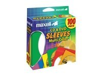 Maxell CD/DVD sleeve capacity: 1 CD/DVD multicolor (pack of 100)