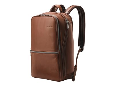 Samsonite Classic Leather Slim Notebook carrying backpack 14.1INCH cognac
