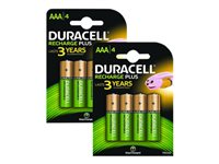 Picture of Duracell battery - 4 x AAA type - NiMH (pack of 2) (BUN0062A)