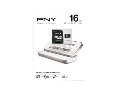 PNY Flash memory card (microSDHC to SD adapter included) 16 GB Class 4 microSDHC
