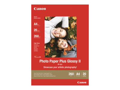 Papier photo Canon Photo Paper Plus II PP- 201 - Papier photo brillant - 21 x 29,7 cm - 275 g/m² - 20 feuilles