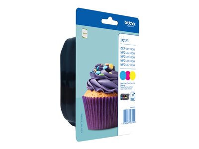 Brother Brother LC123 - Pack de 3 - cyan, magenta, jaune - cartouche d'encre originale