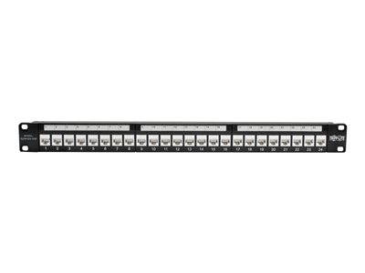 Ultra Spec 19 inch 1U 24 Port Cat6A Feedthrough Type Shielded Patch Panel with Cable Management Bar