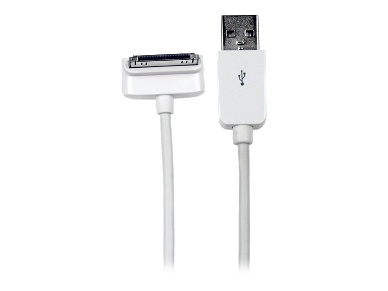 StarTech.com 1m Down Angle Apple 30-pin Dock to USB Cable iPhone iPod iPad - Charging / data cable - USB (M) bis Apple Dock (M) - 1 m - abgeschirmt - weiß