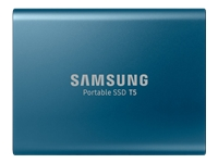 Samsung Portable SSD T5 MU-PA500 - Solid state drive - encrypted - 500 GB - external (portable) - USB 3.1 Gen 2 - 256-bit AES - Ocean blue