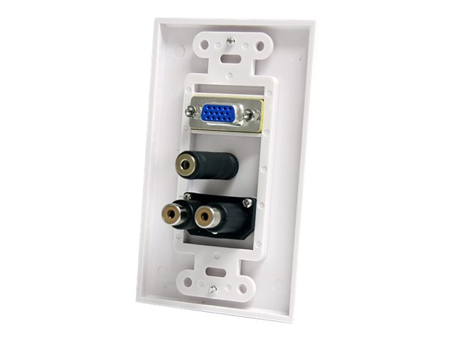 StarTech.com 15-Pin Female VGA Wall Plate with 3.5mm and RCA - White - mounting plate