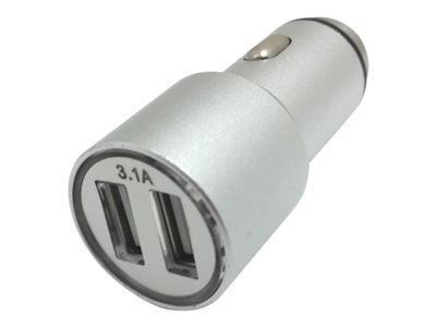 Xavier Car power adapter 3.1 A 2 output connectors (2 x USB) metallic silve
