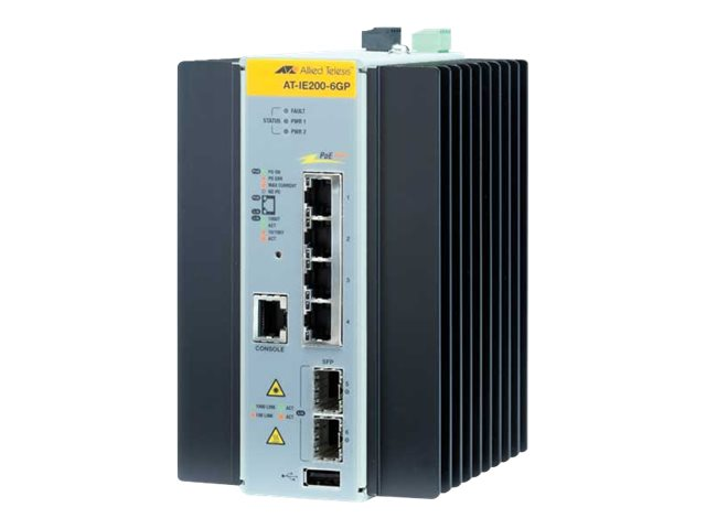Allied Telesis AT IE200-6GP - Switch - verwaltet - 4 x 10/100/1000 (PoE+) + 2 x Gigabit SFP - Desktop - PoE+