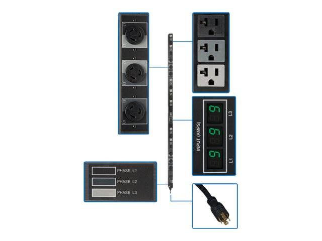 Tripp Lite PDU 3-Phase Metered 208/120V 5.7 kW 21 5-15/20R; 6 L6-20R 0URM - vertical rackmount - power distribution uni…