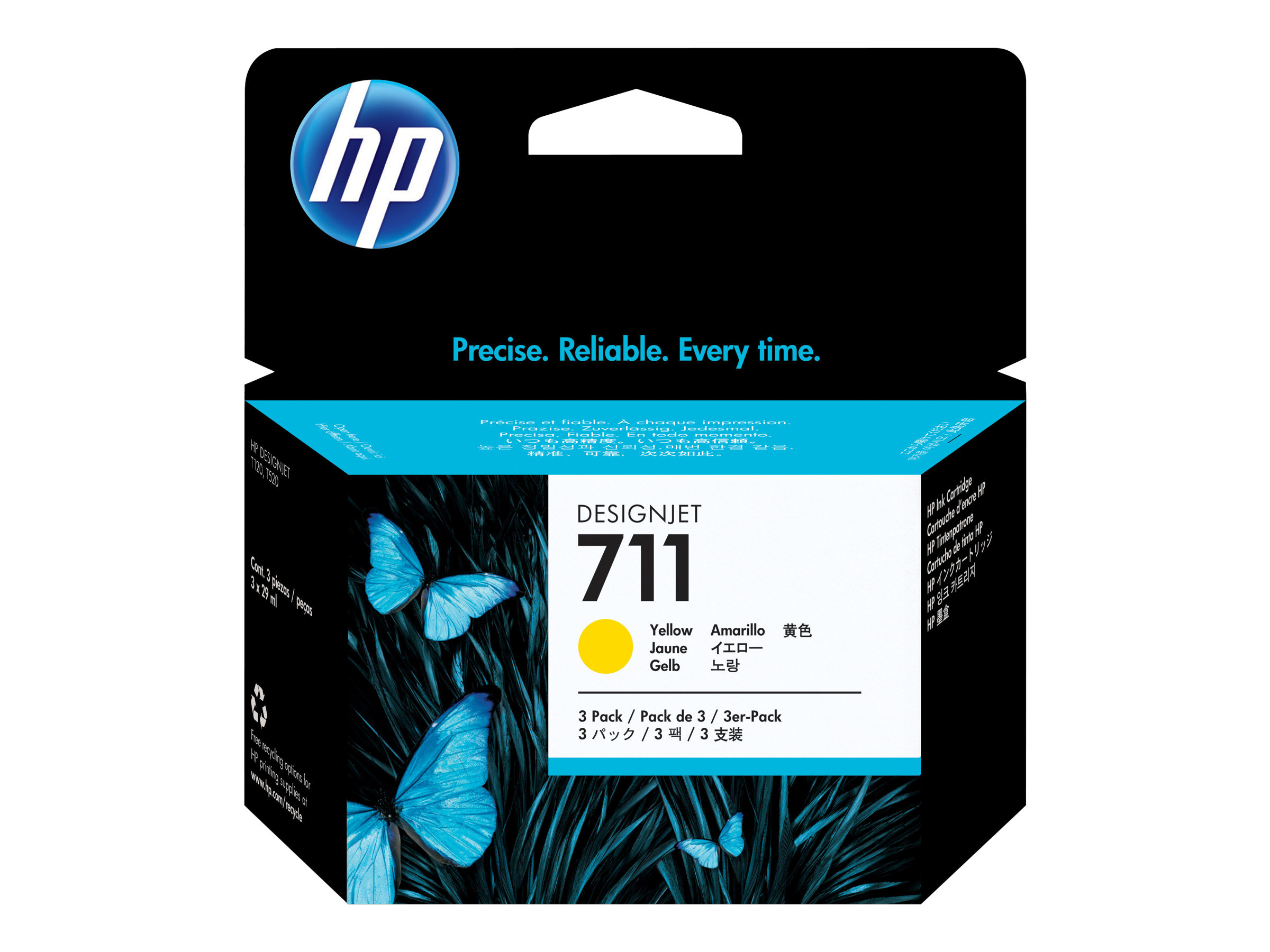 HP 711 - 3-pack - dye-based yellow - original - DesignJet - ink cartridge