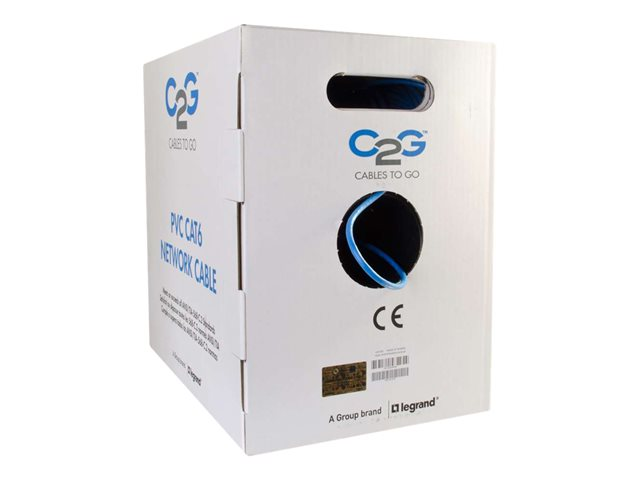 C2G 1000ft Cat6 Bulk Ethernet Cable - In-Wall CM-Rated - Stranded - Blue