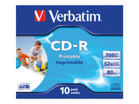 Verbatim - 10 x CD-R - 700 MB (80min) 52x - ink jet printable surface, wide printable surface - jewel case