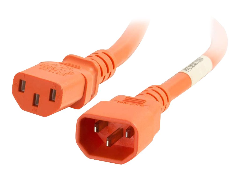 C2G 6ft 14AWG Power Cord (IEC320C14 to IEC320C13) - Orange - power cable - TAA Compliant - 1.83 cm