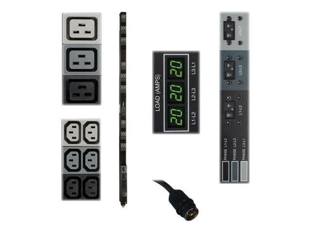 Tripp Lite PDU 3-Phase Metered 208V 12.6 kW Hubbell 36 C13 9 C19 TAA - vertical rackmount - power distribution unit - 1…