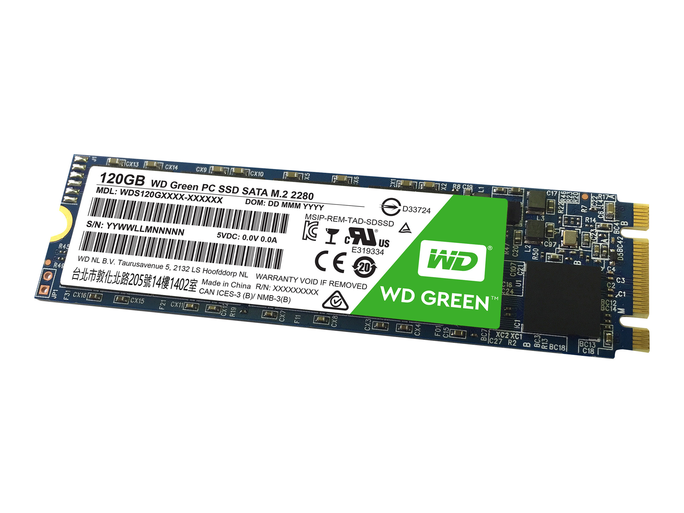 WD Green PC SSD WDS120G1G0B - Solid-State-Disk - 120 GB - intern - M.2 2280 - SATA 6Gb/s