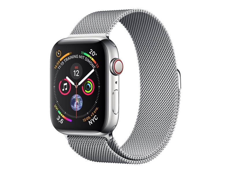 Apple Watch Series 4 (GPS + Cellular) - rostfritt stål - smart klocka med milanesisk loop - 16 GB - inte specificerad