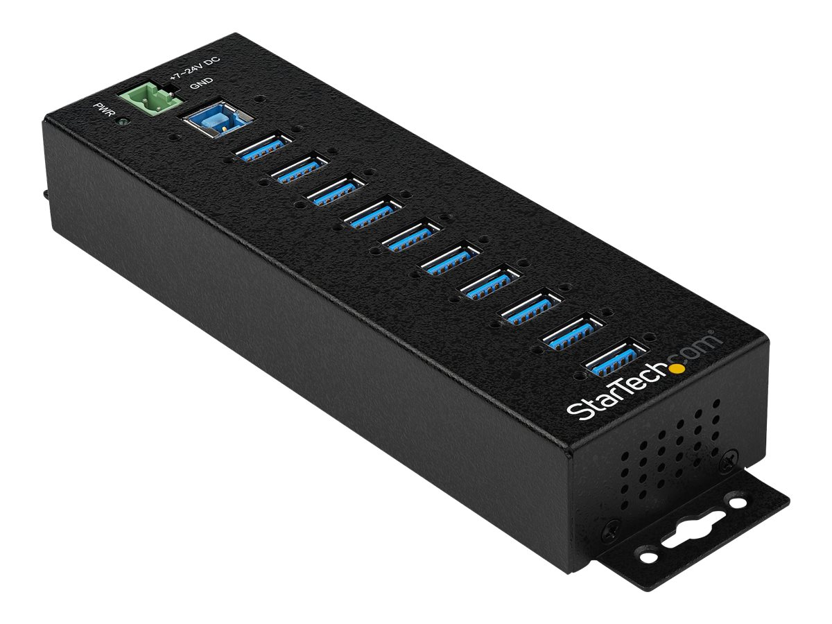 StarTech.com 10-Port Industrial USB 3.0 Hub with External Power Adapter - ESD & 350W Surge Protection (HB30A10AME) - hu…