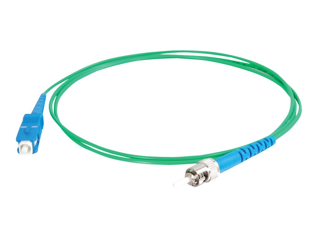 C2G 5m SC-ST 9/125 Simplex Single Mode OS2 Fiber Cable - Plenum CMP-Rated - Green - 16ft - patch cable - 5 m - green