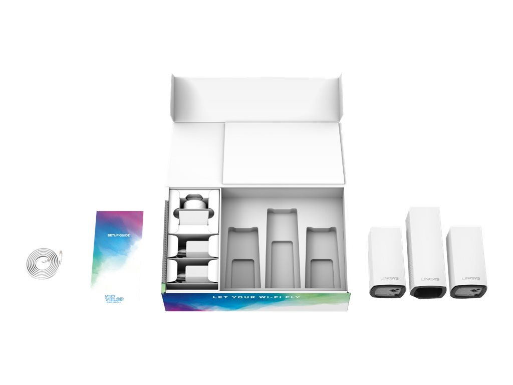 Linksys VELOP Whole Home Mesh Wi-Fi System WHW0203 - Combo Pack - Wi-Fi system - Bluetooth 4.0, 802.11a/b/g/n/ac, Bluet…