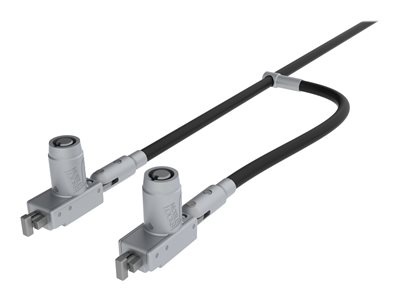 Noble Double head T-Bar Lock with barrel key and cable trap Notebook locking cable silver