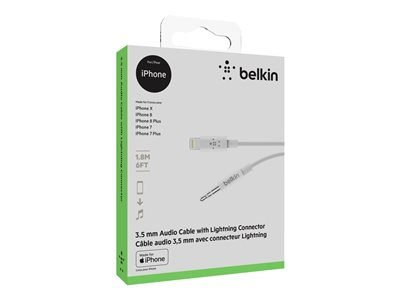 Belkin - Lightning to headphone jack cable - Lightning male to stereo mini jack male - 1.83 m